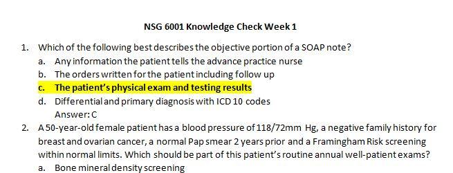 nsg 6001 week 1 quiz