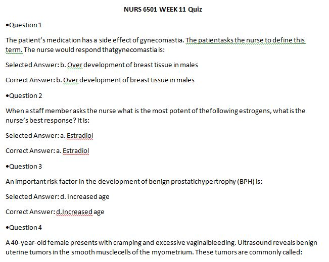 nurs 6501n week 11 quiz
