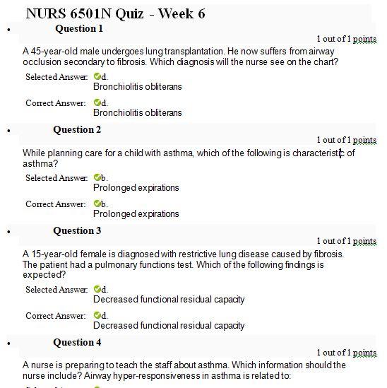 nurs 6501n week 6 quiz