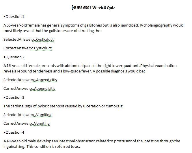 nurs 6501n week 8 quiz