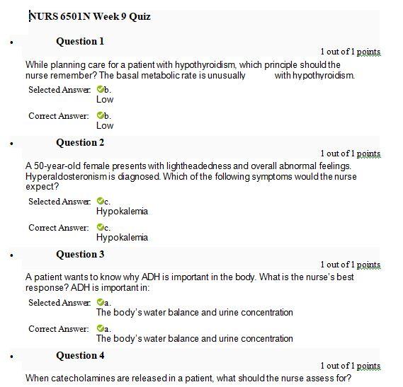 nurs 6501n week 9 quiz