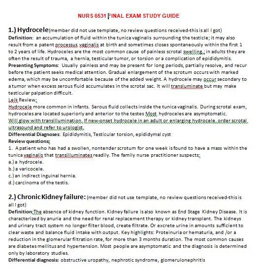 nurs 6531 final exam study guide