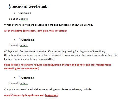 nurs 6531n week 4 quiz 1