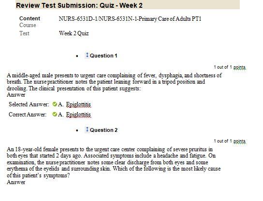 nurs 6531n week 2 quiz