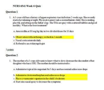 nurs 6541 week 6 quiz
