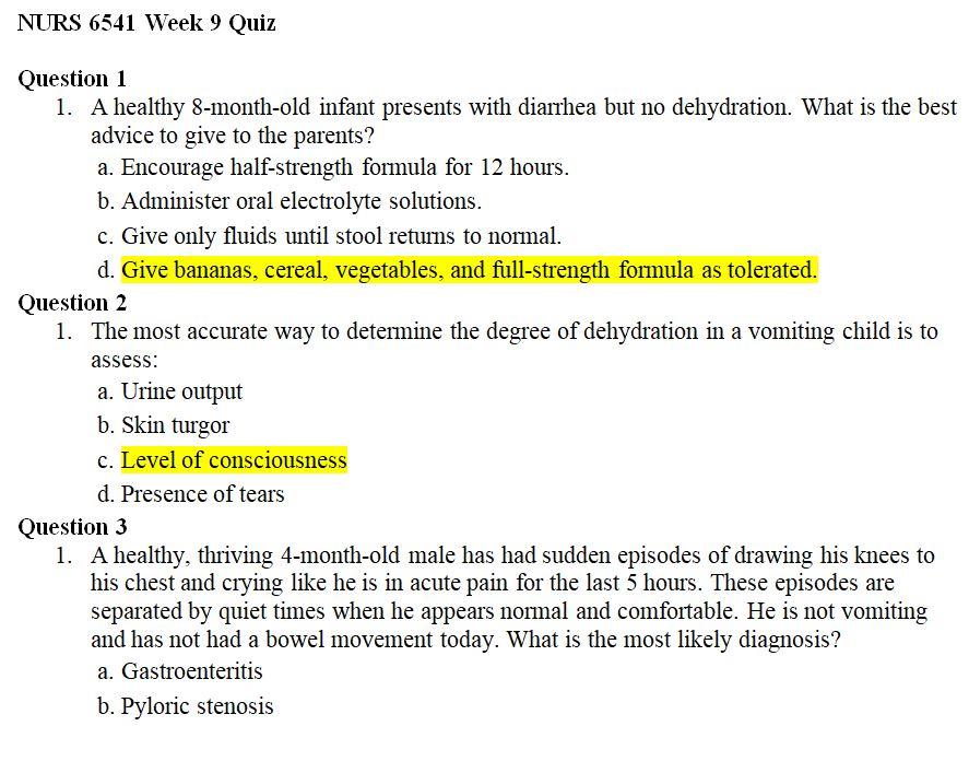 nurs 6541 week 9 quiz 1