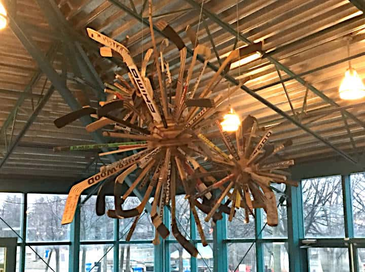 Hockey Stick Dandelion Chandelier - Forks Market, Winnipeg, Canada - Wood Anchor Number Ten Architecture