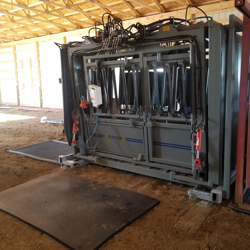 Mats used in front of chute for cattle and beside chute for operator