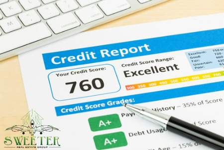 Credit report with pen and keyboard