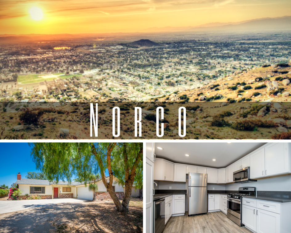 picture of norco over looking the city, the front of the house and the remodeled kitchen