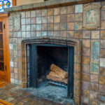 Close up view of the Batchelder fireplace