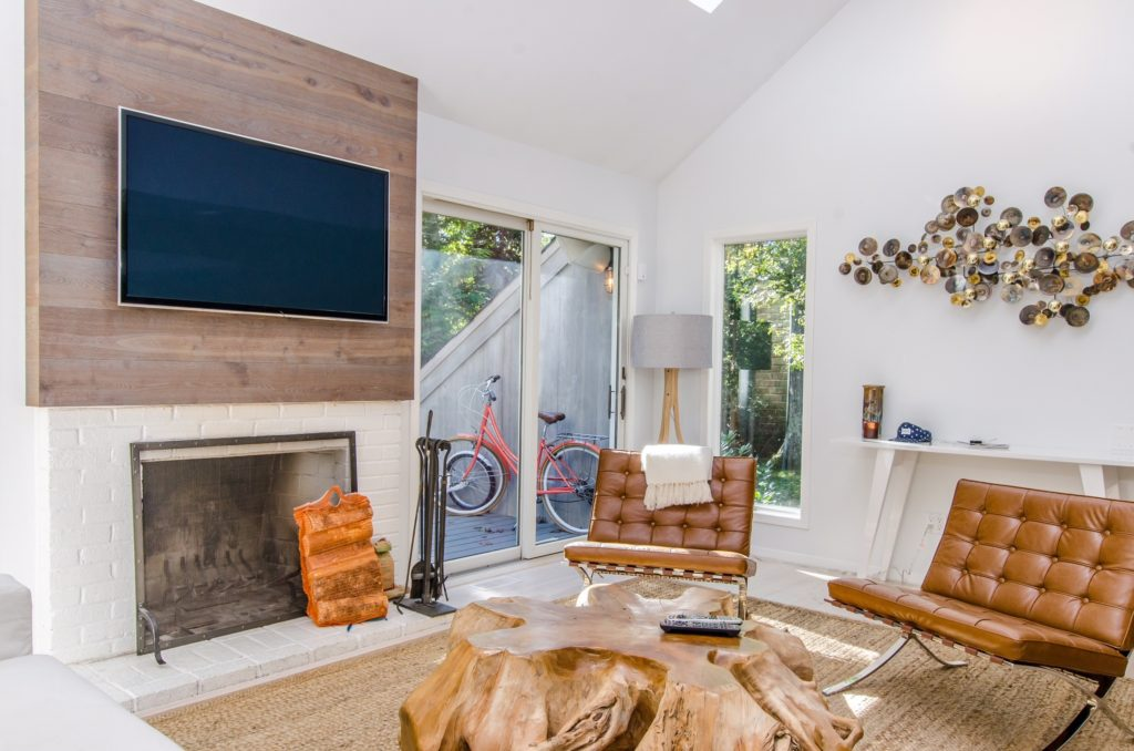 Wood grained accent wall