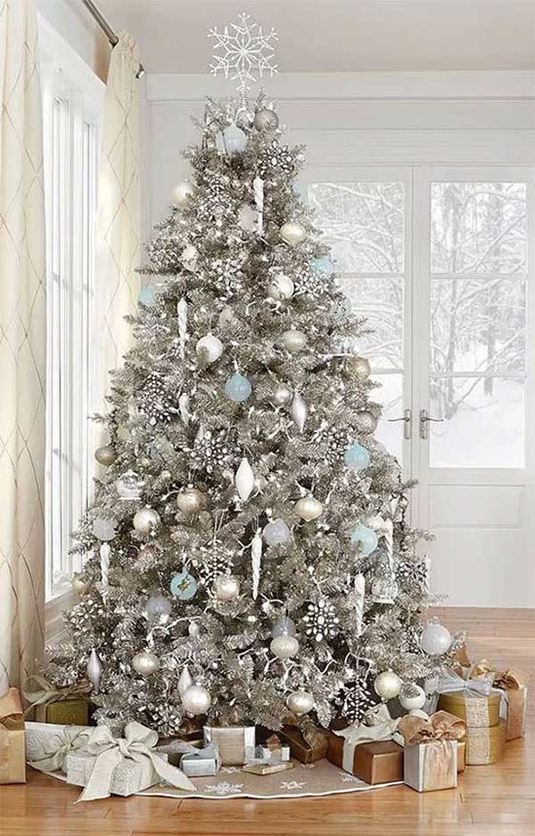 Majestic Silver & Icy Blue Christmas Tree