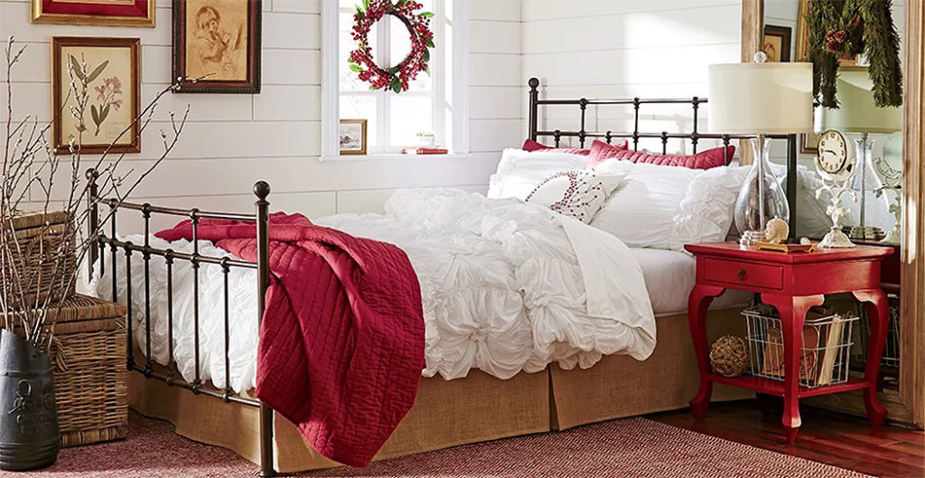 Cozy Cottage Bedroom with Red Christmas Accents