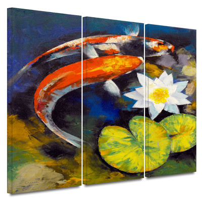 Koi Fish and Water Lily by Michael Creese 3 Piece Art Print on Wrapped Canvas Set