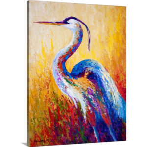 Steady Gaze Heron by Marion Rose Art Print on Canvas