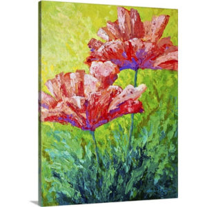 Two Red Poppies by Marion Rose Art Print on Canvas