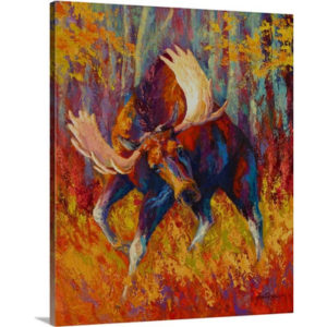 Imminent Charge Moose by Marion Rose Art Print on Canvas