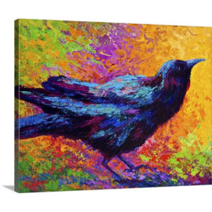 Poised Crow by Marion Rose Art Print on Canvas