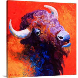 Bison Attitude by Marion Rose Art Print on Canvas