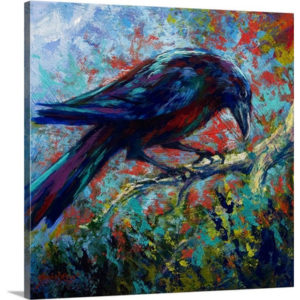 Lone Raven by Marion Rose Art Print on Canvas
