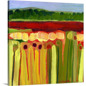 Skagit Fields in Red No. 2 by Jennifer Lommers Art Print on Canvas