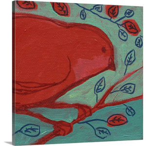 Red Bird by Jennifer Lommers Art Print on Canvas
