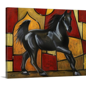 Black Stallion Horse by Eric Waugh Art Print on Canvas