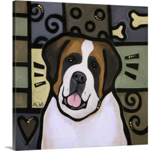 St Bernard Pop Art by Eric Waugh Painting Print on Canvas