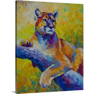 Cougar Portrait by Marion Rose Painting on Canvas