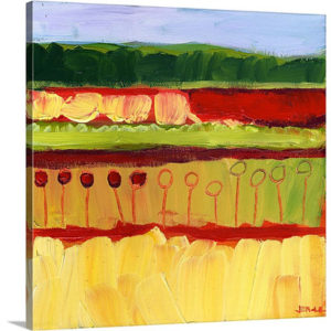 Skagit Fields in Red No 1 by Jennifer Lommers Art Print on Canvas