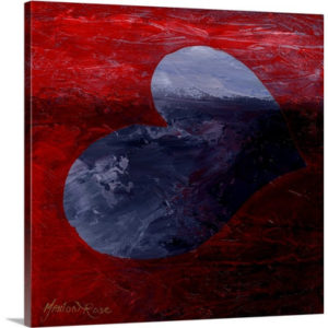 Heartfelt XIV - Red Black by Marion Rose Art Print on Canvas