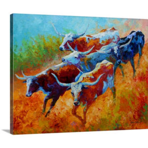 Longhorns II by Marion Rose Art Print on Canvas