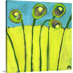 Growing in Green and Turquoise by Jennifer Lommers Art Print on Canvas