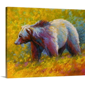 Pastel Grizzly by Marion Rose Art Print on Canvas