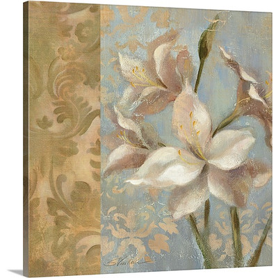 Amaryllis on Soft Blue by Silvia Vassileva Art Print on Canvas