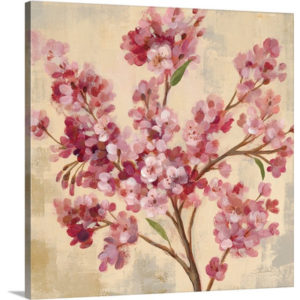 Pink Cherry Branch I by Silvia Vassileva Art Print on Canvas