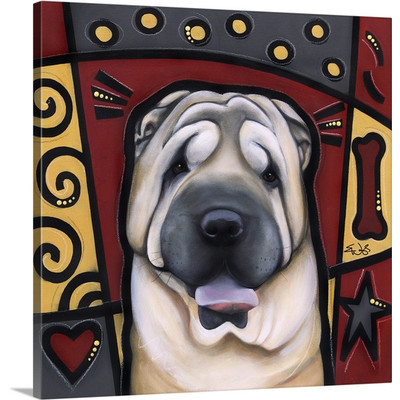 Chinese Shar-Pei Pop Art by Eric Waugh Painting Print on Canvas
