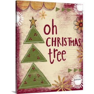 Christmas Art 'Oh Christmas Tree' by Katie Doucette Graphic Art on Wrapped Canvas