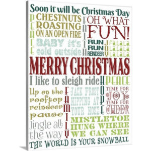 Christmas Art 'Christmas Typography II' by Melody Hogan Textual Art on Wrapped Canvas