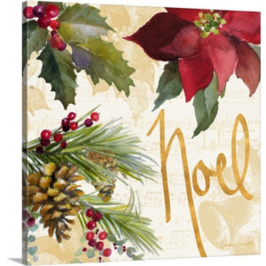 Christmas Art 'Christmas Poinsettia III' by Lanie Loreth Painting Print on Wrapped Canvas