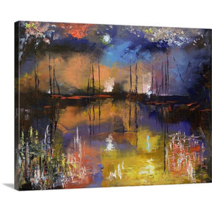 Fireworks Painting by Michael Creese Art Print on Canvas