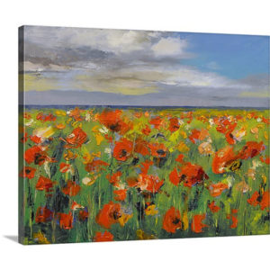Poppy Field with Storm Clouds by Michael Creese Canvas Art Print