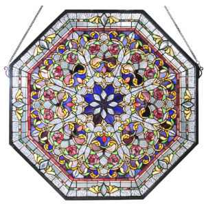 "Front Hall Floral | Stained Glass Window | 25"" W X 25"" H"