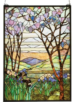 "Tiffany Magnolia & Iris | Stained Glass Panel | 29"" X 40"""