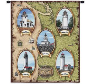 """Lighthouses of the Northwest   26"""" x 32""""   Tapestry"""