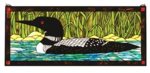 "Loon | Art Glass Window | 40"" X 17"""