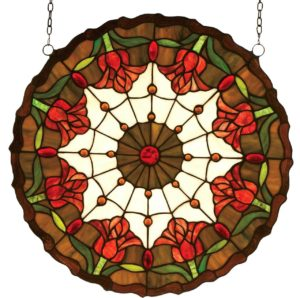 "Colonial Tulip | Round Art Glass Window Hanging | 18"" X 18"""