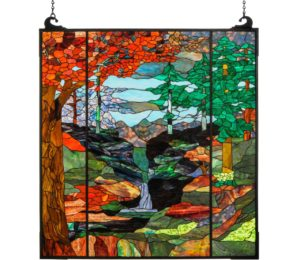 "Tiffany River of Life | Stained Glass Window Hanging | 47"" X 76"""