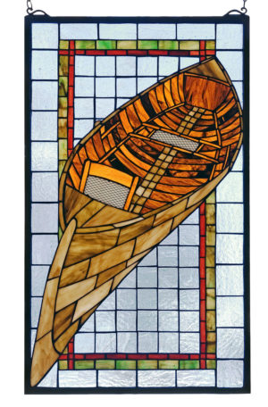 "Guideboat Canoe | Stained Glass Window Hanging | 15"" W X 25"" H"